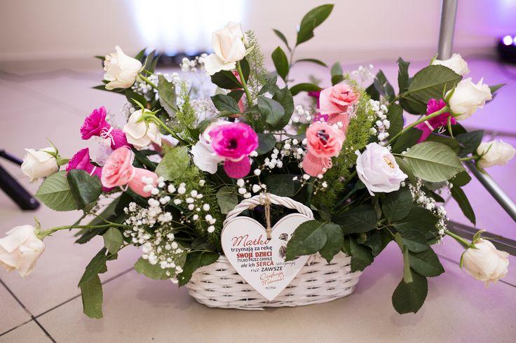 kosz kwiatów, ślub, podziękowania dla rodziców