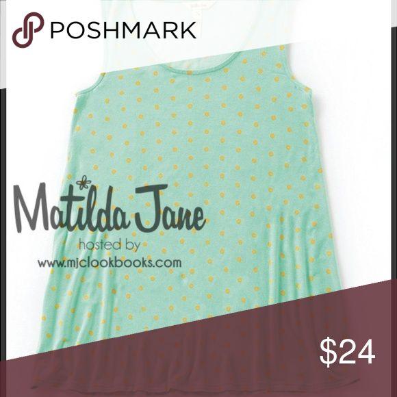 Matilda Jane Dunk Tank This green shirt has adorable yellow gold polka dots. Worn 3 times. Like new. Matilda Jane Clothing Tops Tank Tops