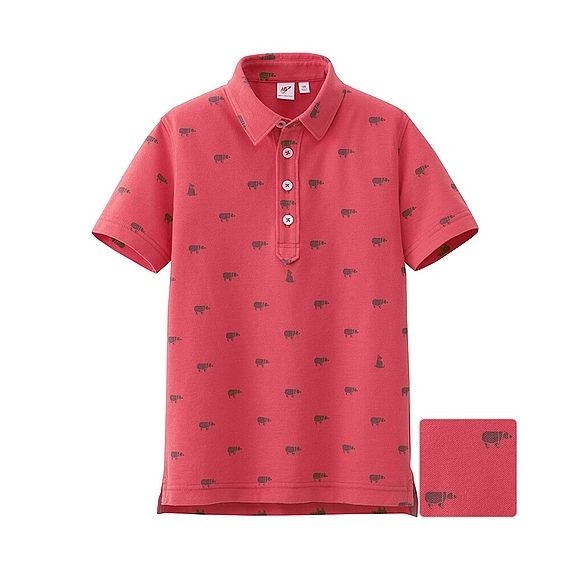 UNIQLO x Michael Bastian KIDS MB Short Sleeve Polo Shirt - Coral Bears Origami Print