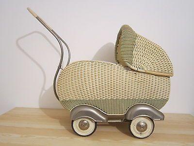 Alter Korbkinder-Puppenwagen 40er-50er mit Originalen Bett   eBay