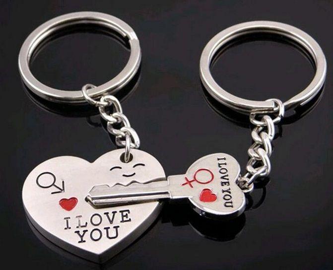 Podwójny brelok I LOVE YOU serce klucz na prezent EdiBazzar