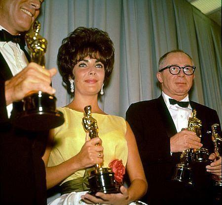 """Academy Awards: 33rd Annual,"" Burt Lancaster, Elizabeth Tarylor, and Billy Wilder.  1961.: Burts Lancaster, Elizabeth Taylors, Billy Wilderness, Elizabeth Tarylor, Academy Awards, 33Rd Annual, Medium"