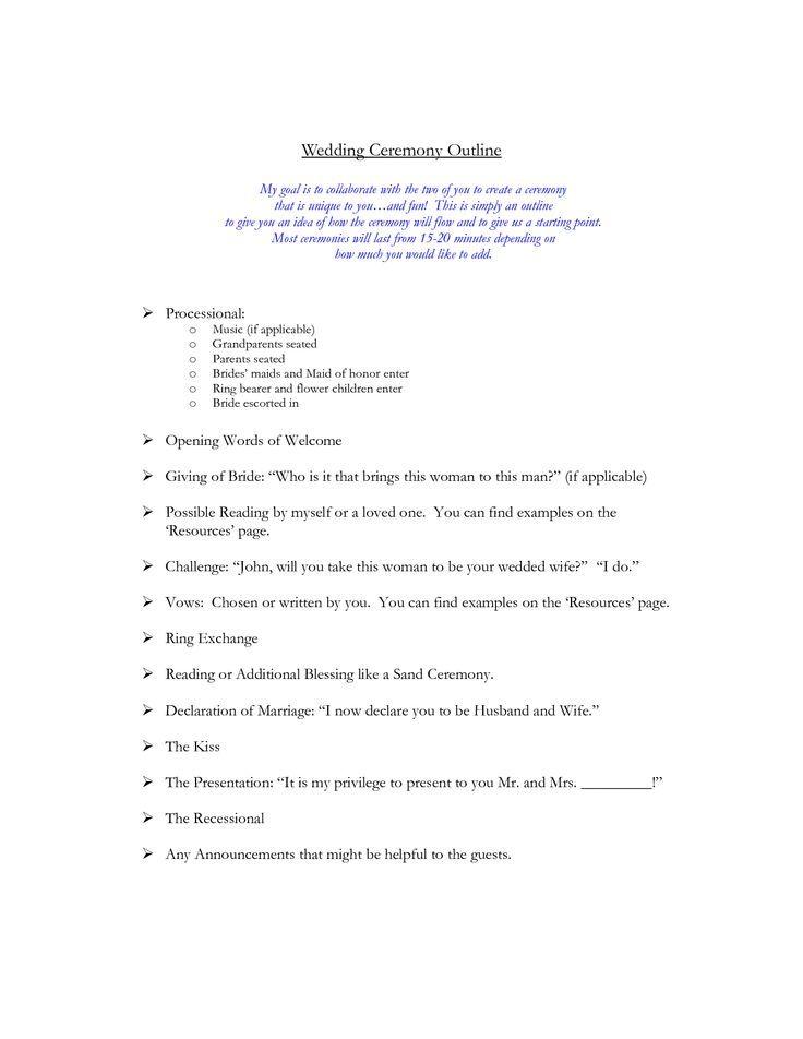 Wedding Ceremony Outline Wedding Officiant Stuff Pinte