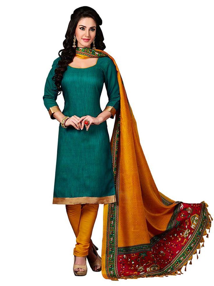 Astonishing dark green color jute silk kameez having golden lace. Item Code : SLEB13008 www.bharatplaza.com/new-arrivals/salwar-kameez.html