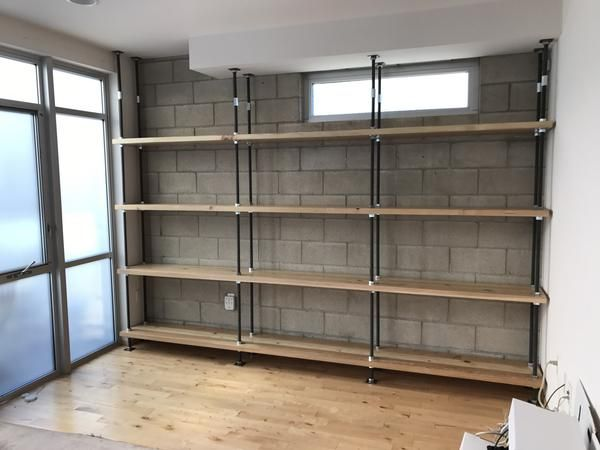 Nuts Bolts And Treaded Steel Rod Industrial Bookcase With Images Built In Bookcase Shelves Wood Shelves
