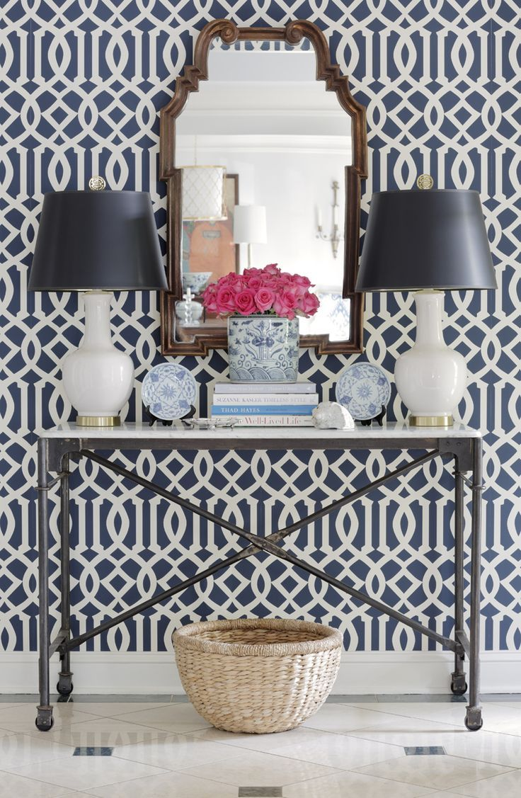 Wallpaper Thibaut Console with lamps and mirror