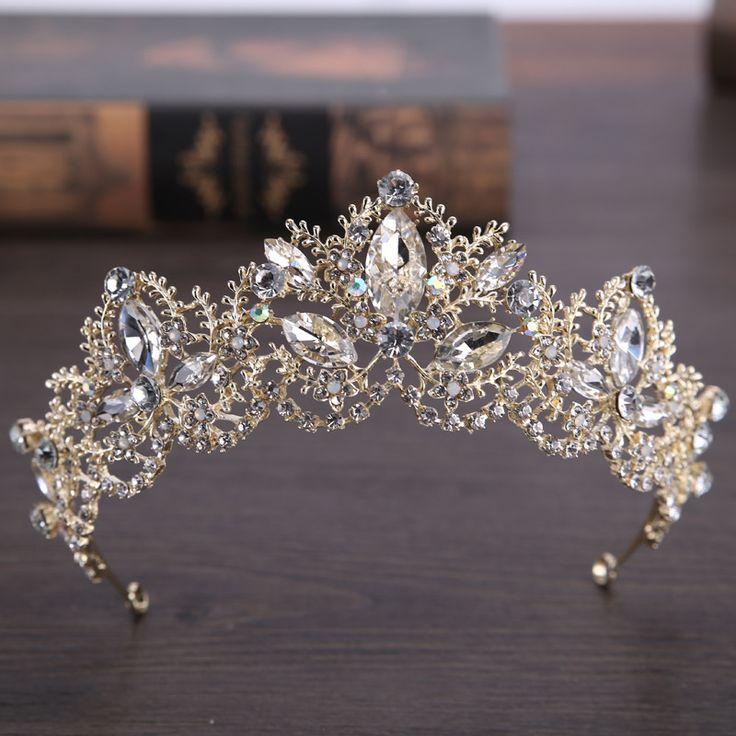 2017 neue Mode Barock Luxus Kristall AB Brautkronen-tiara-perlen Licht Gold Diadem Diademe für Frauen Braut Hochzeit Haarschmuck