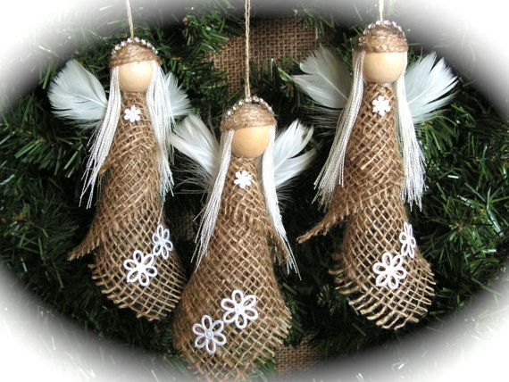 Christmas Ornament- burlap angel - set of 3 on Etsy, $27.84 CAD