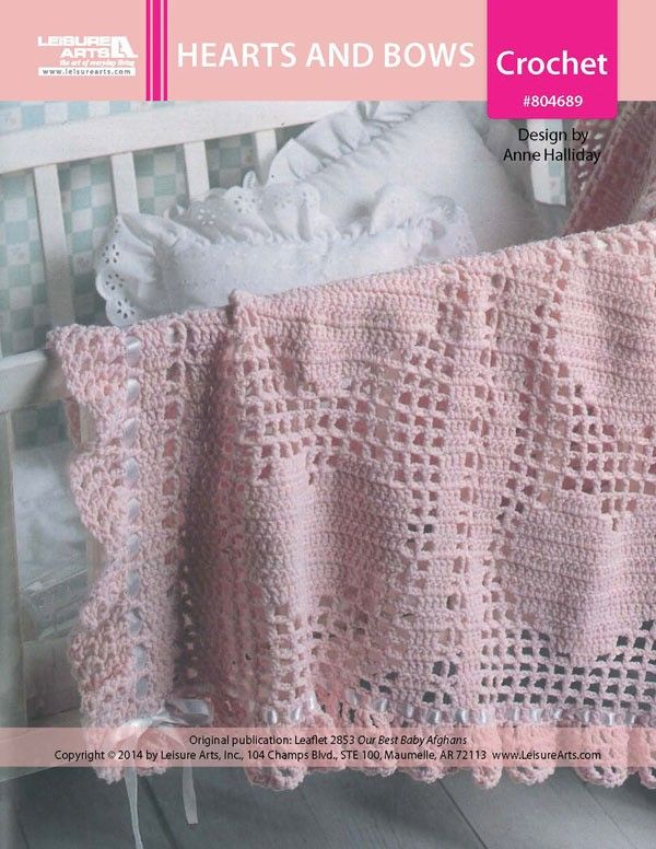 Hearts and Bows Baby Afghan ePattern - Your little princess will look precious in this sweetheart of an afghan, which features filet crochet hearts. White satin ribbon is woven through the eyelet round in the ruffled border and tied into bows to complete the romantic look.