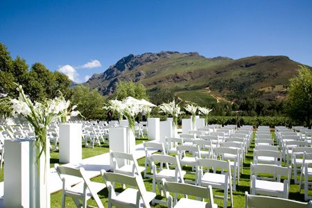 The Lanzerac Hotel & Spa | Wedding Venues. White outside decor is a definite winner.