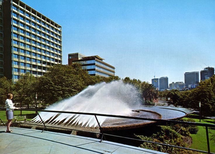 Southgate Fountain, on the south bank of the Yarra. Demolished to make way for the Arts Centre / Hamer Hall
