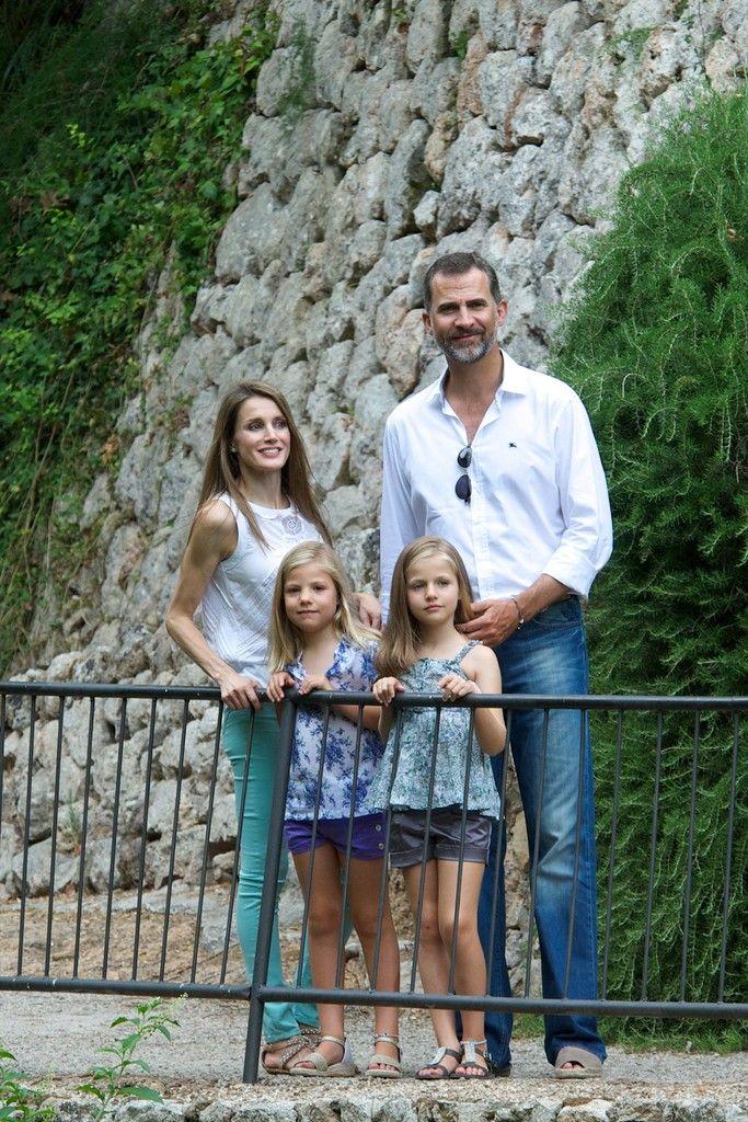 ROYAL FAMILY PORTRAIT: Prince Felipe & Princess Letizia of Asturias, Infanta Leonor & Infanta Sofia of Spain visit La Granja Mallorca