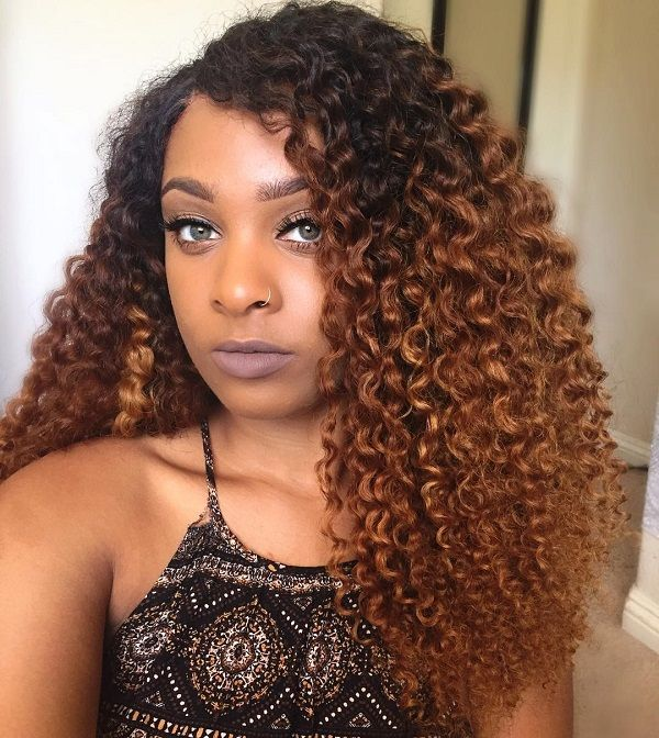 ombre curly natural hair style color ideas for fall and winter