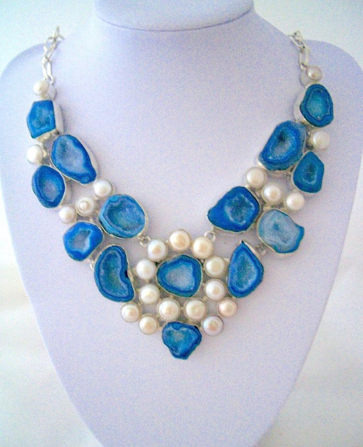 Drusy drusy Sparkling Blue Agate and Fresh Water Pearls Handmade Silver Necklace. by Ameogem on Etsy