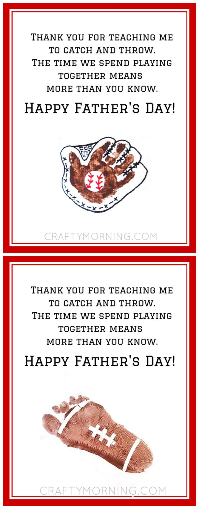 Free Baseball/football Father's Day Poem printable - Great gift/craft from the kids for dad or grandpa!