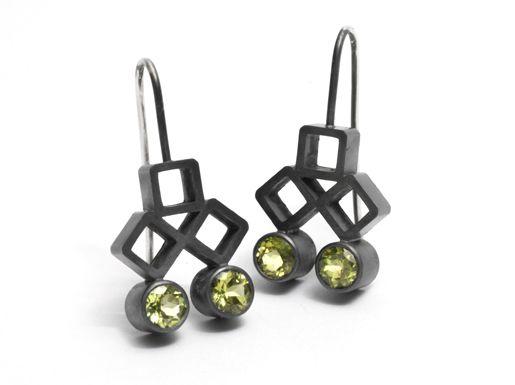 Melanie Katsalidis / oxidised silver and peridot earrings / via Pieces of Eight Gallery