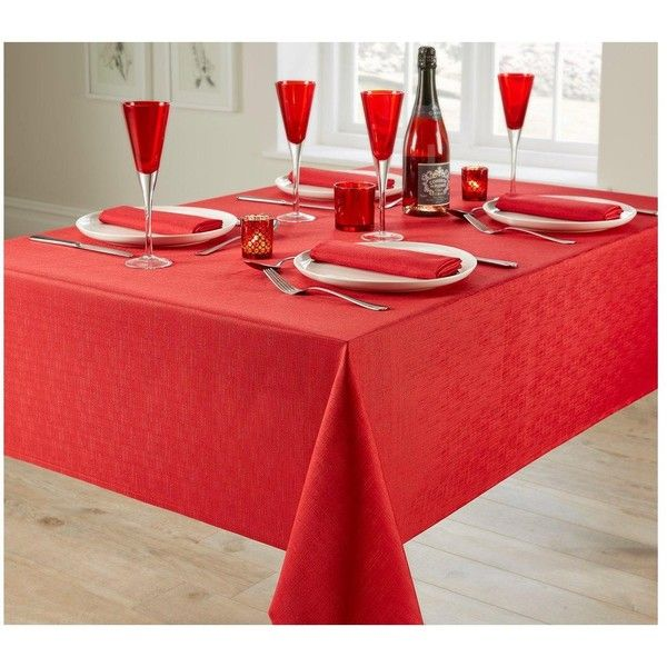 Linen Look 4 Place Setting Tablecloth And Napkin Set U0026Ndash; Red ($13) ❤  Liked On Polyvore Featuring Home, Kitchen U0026 Dining, Table Linens, Red Table  Cloth, ...