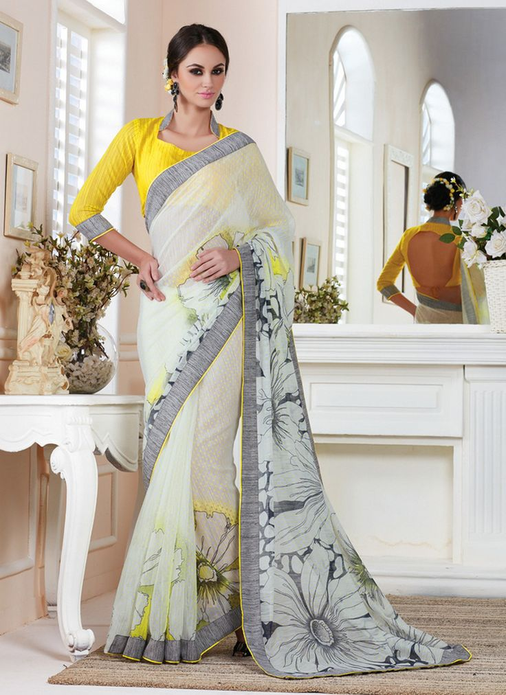 Monumental White Silk Casual Saree