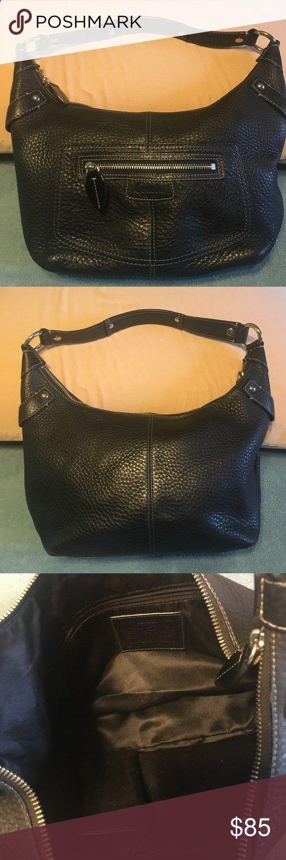 Black Coach Purse Leather Coach purse in black. Pebble texture. Silver trim. Very clean, excellent condition. Coach Bags Shoulder Bags