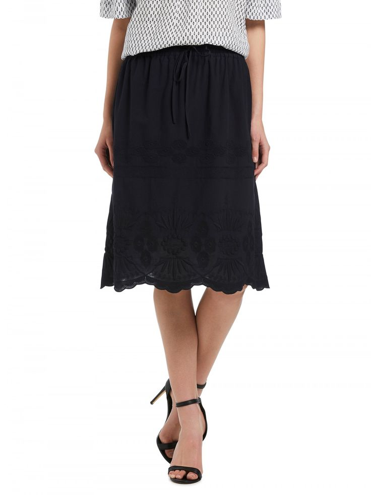Navy Cutwork Hem Skirt