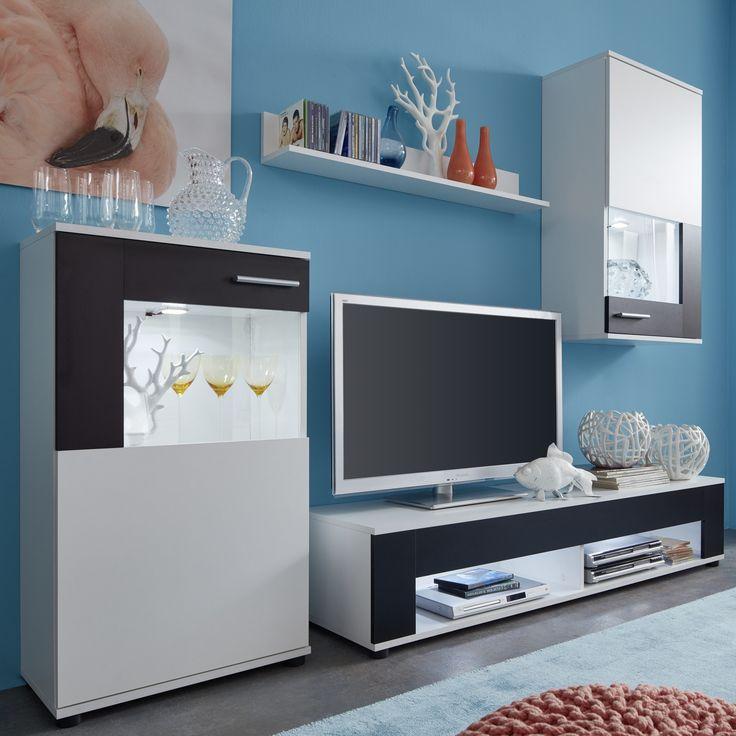 diese stylische wohnwand in den kontrastfarben weischwarz besteht aus standvitrine - Stylische Wohnwand