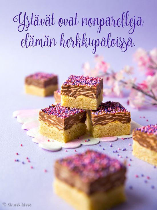 Ehkä arvaattekin jo kuvasta, mikä suklaakonvehti on ollut mielessäni näitä herkkuja leipoessa.  Wienernougat on jo varhaisesta lapsuudestani tuttu klassikko.