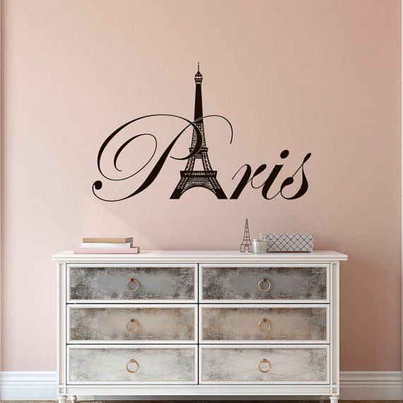 Paris Eiffel Tower Vinyl Wall Decal  Paris Theme Bedroom Decor  Paris  Skyline Silhouette France