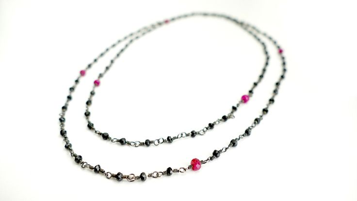 Necklace from Spinel and Ruby in silver chain -Price:122€