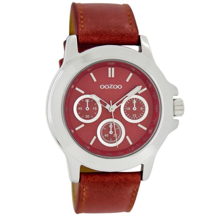 Ρολόι Oozoo Timepieces 40mm Red Dial - Leather Strap - C6188 - http://rologia.org/%cf%81%ce%bf%ce%bb%cf%8c%ce%b9-oozoo-timepieces-40mm-red-dial-leather-strap-c6188/