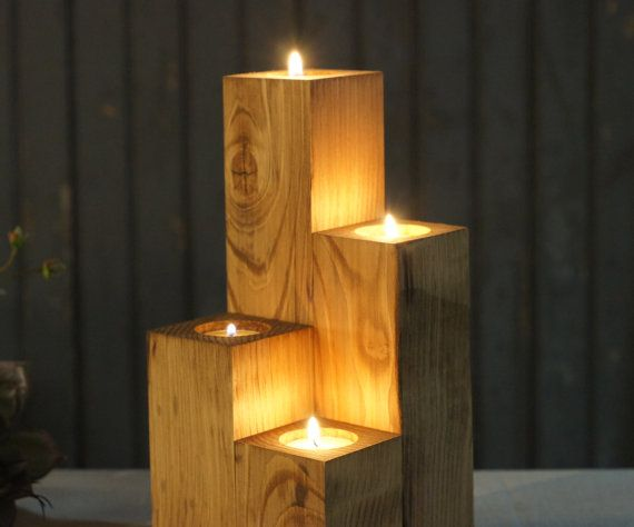 Reclaimed Wood Candle Holder Rustic Tealight by GFTWoodcraft                                                                                                                                                                                 More