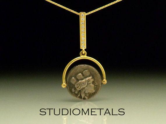 Collier de pièce de monnaie romaine, 18K pendentif en or, pièce bijoux, pendentif diamant, P553