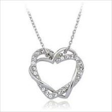 """Get Crystal Double Heart 18K White Gold Plated Pendant & 18"""" Necklace with 2"""" Adjustable Tail Chain at Giftopia Shop"""
