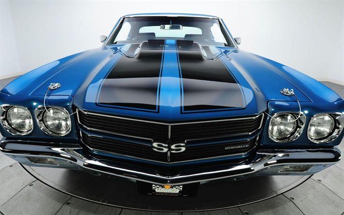 Descargar fondos de pantalla Chevrolet Chevelle, 1966 coches, retro cars, coches americanos, azul Chevelle, Chevrolet