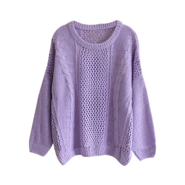 Batwing Sleeves Cable Knit Cut-out Purple Jumper ($24) ❤ liked on Polyvore featuring tops, sweaters, shirts, jumpers, purple shirt, cable jumper, cutout sweater, cable sweater and batwing sleeve shirt