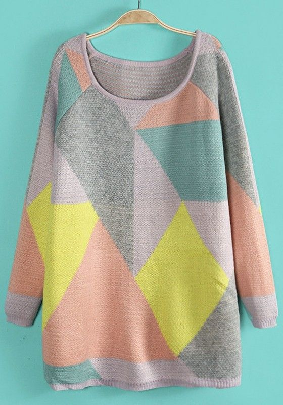Yellow Geometric Color Block Round Neck Acrylic Sweater