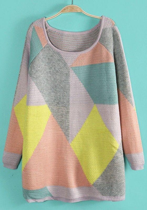 Yellow Geometric Color Block Round Neck Acrylic Sweater