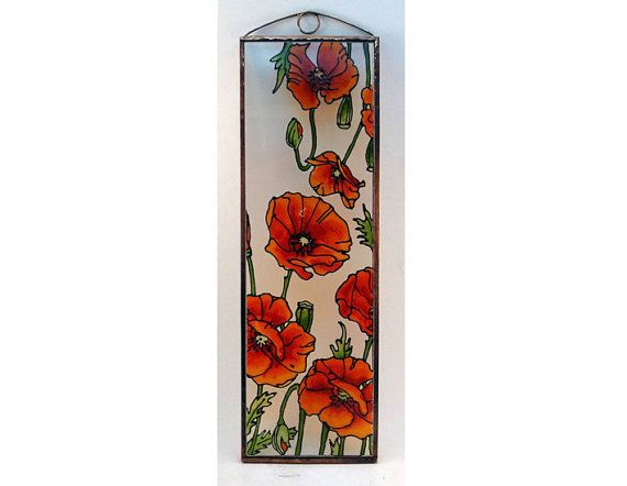 Poppies  Painted Glass by KorinArt on Etsy
