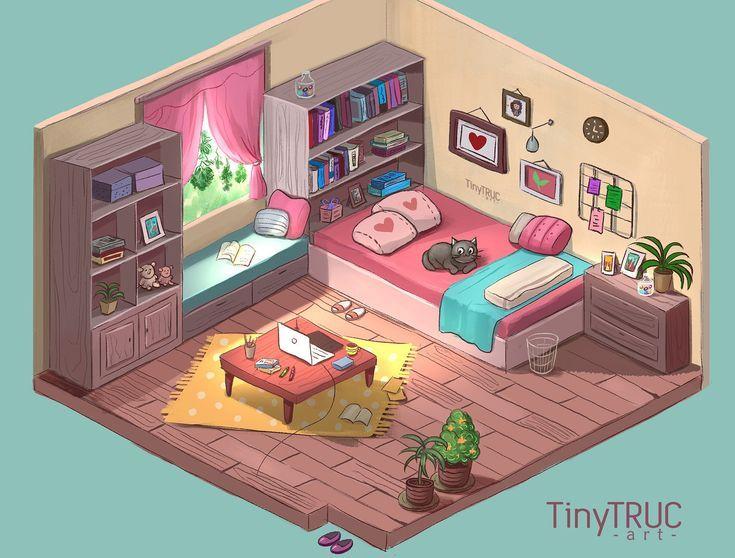 Nice Bedroom Isometric Art Dreamy Room Isometric Drawing