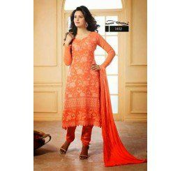 Buy Dinnar Georgette Orange Semi Stitched Salwar Suit at Socrase.com