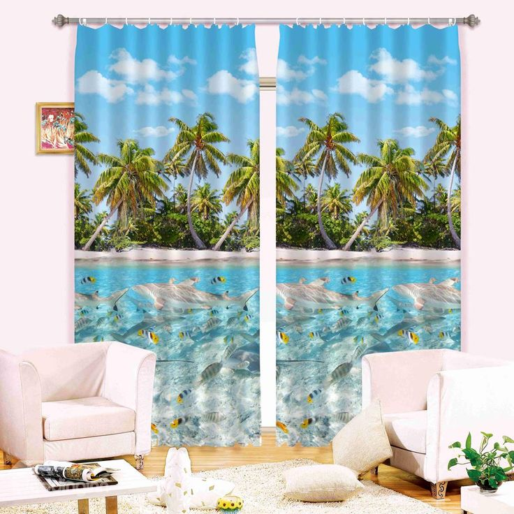 3d dolphins and palm trees summer refreshing beach printed blackout 3d curtain curtains on