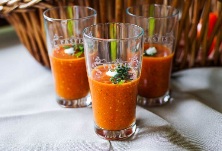 Chilled Roasted Tomato and Carrot Soup, anyone? This is a delicious Southwestern tomato soup, with a blast of basil and a whisper of sherry vinegar. Try it!