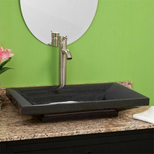 Black granite rectangular vessel sink 375 sinks pinterest black granite for Black granite vessel bathroom sinks