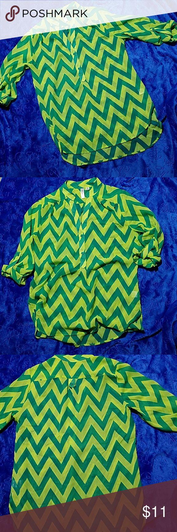 Sheer button down blouse small Tactera Green with lime green chevron print button down blouse with roll up sleeves button. Tactera Tops Button Down Shirts