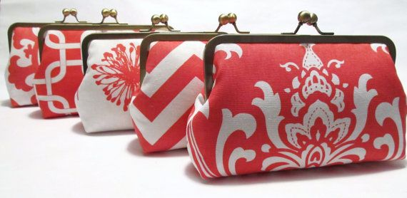 Sale-Set Of (5) Silk Lined Coral And White Custom Bridesmaid Clutches-Bridesmaid Gifts-Weddings-Bridal Accessories via Etsy