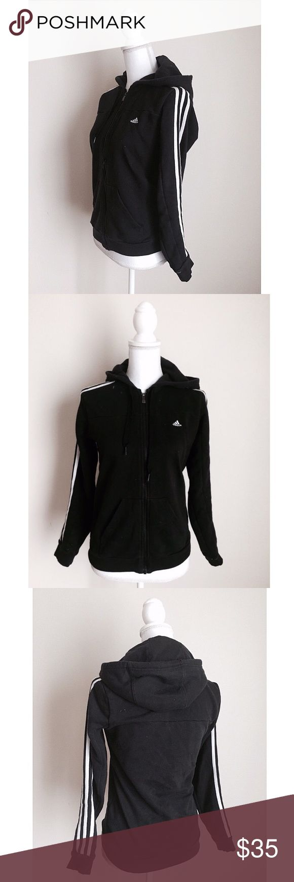 Adidas Perfect Hoodie ✨ Adidas black and white womens hoodie - Super soft sweater material with soft fleece inner - Size XS✨ Adidas Sweaters
