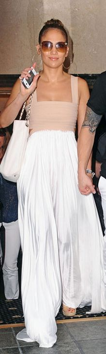 Purse - Chanel Dress - A.l.c. Shoes - Jimmy Choo A.l.c. Exclusive Elastic Pleated Maxi Dress: Nude/white Jimmy Choo Jimmychoo-Phyllis Patent Leather Wedge Espadrilles