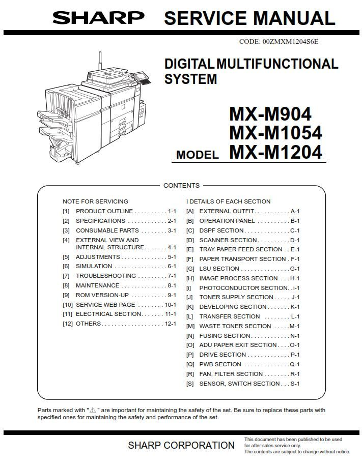 Sharp Mx M904 M1054 M1204 Printer Copier Service Manual Informative Coding Printer