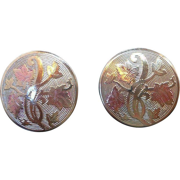 Vintage Round  Textured Silvertone Metal  Flowers  Leaves Adjustable Screw On Earrings. found at www.rubylane.com #vintagebeginshere