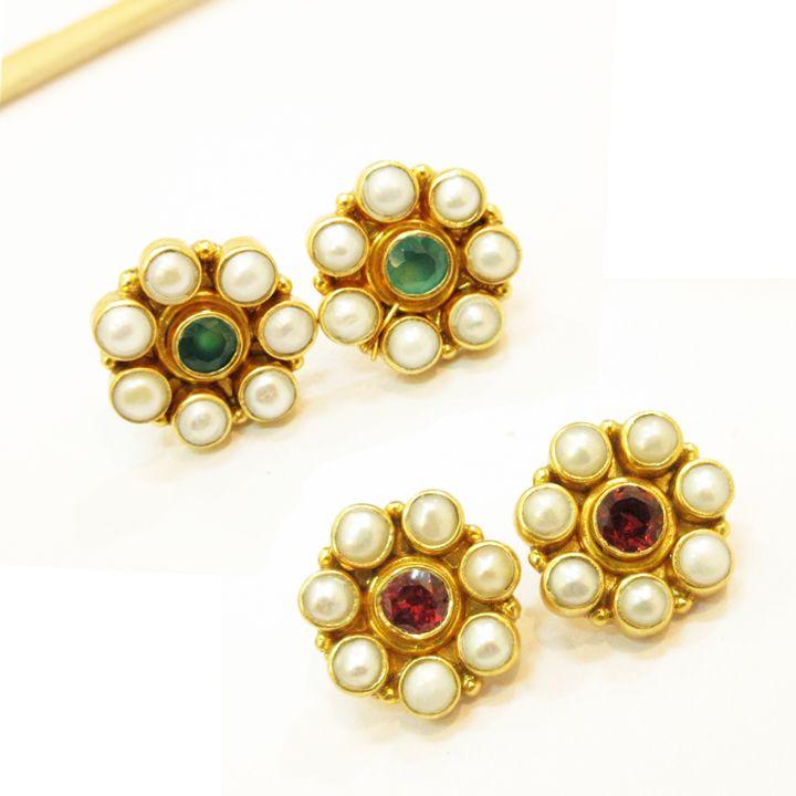 925#Sterling#Silver#India#Garnet#Emerald#Gemstone#Gold#Plating#Handmade#Stud#Earring#Women#Free#Shipping http://www.ebay.com/itm/925-Sterling-Silver-India-Garnet-Emerald-Gems-Stud-Earring-Women-Free-Shipping-/112515387775?ssPageName=STRK:MESE:IT