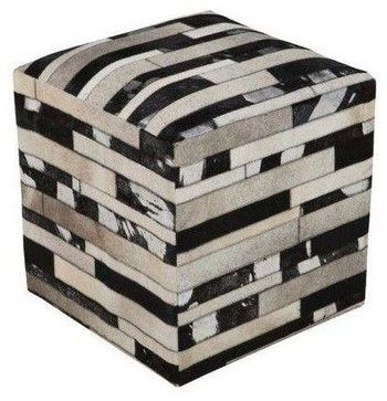 Used Patchwork Cowhide Ottoman Pouf - rustic - Ottomans And Cubes - Chairish